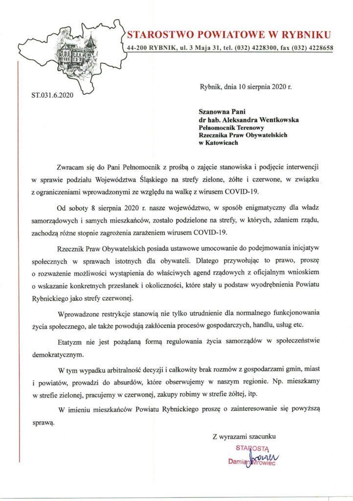 Pismo Starosty Rybnickiego do Pełnomocnika Terenowego RPO